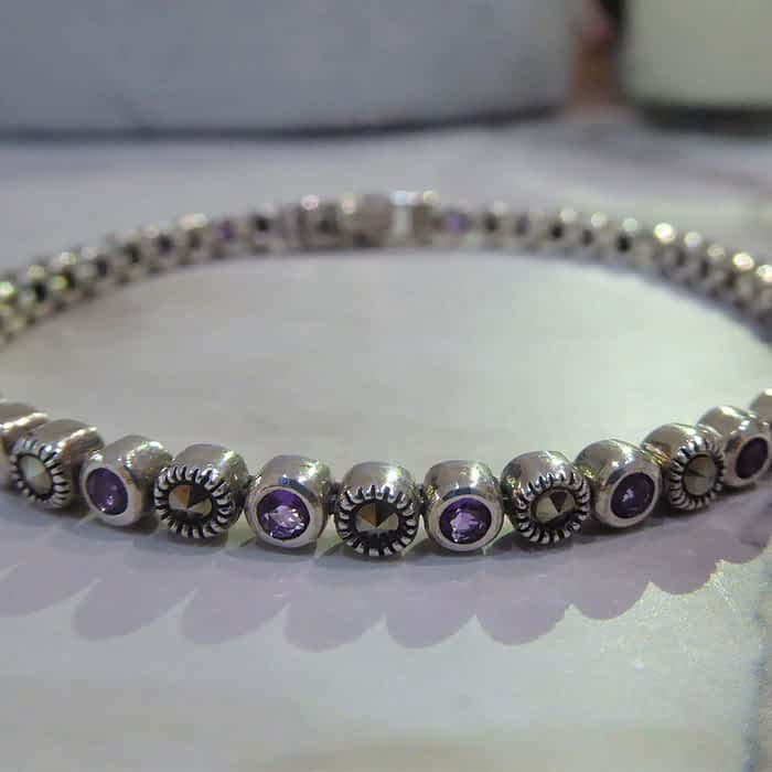 silver, amethyst and marcasite smaller circle link bracelet