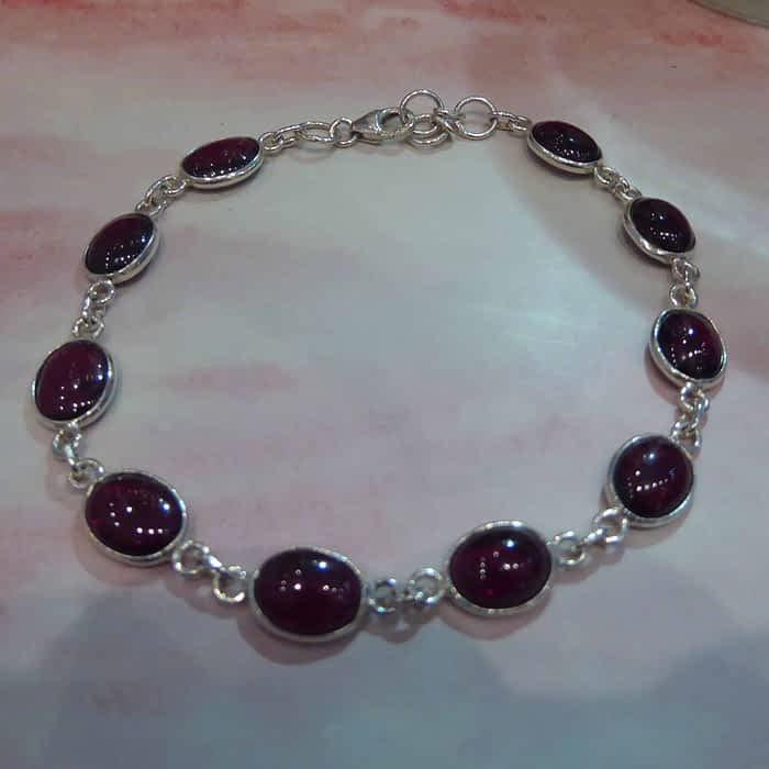 silver and cabochon garnet bracelet