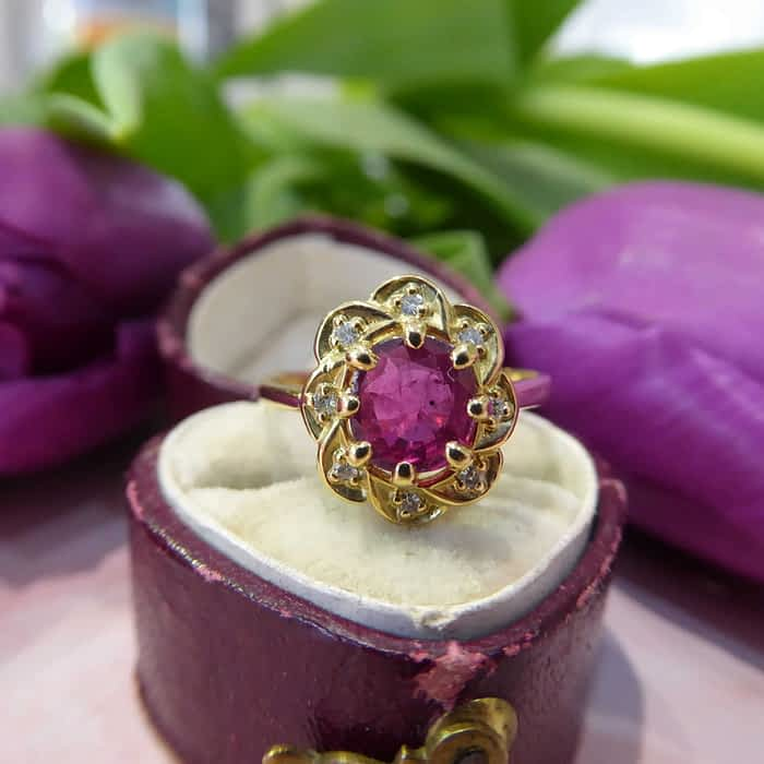 Vintage Gold Ring, Ruby and Diamond, 18ct Gold