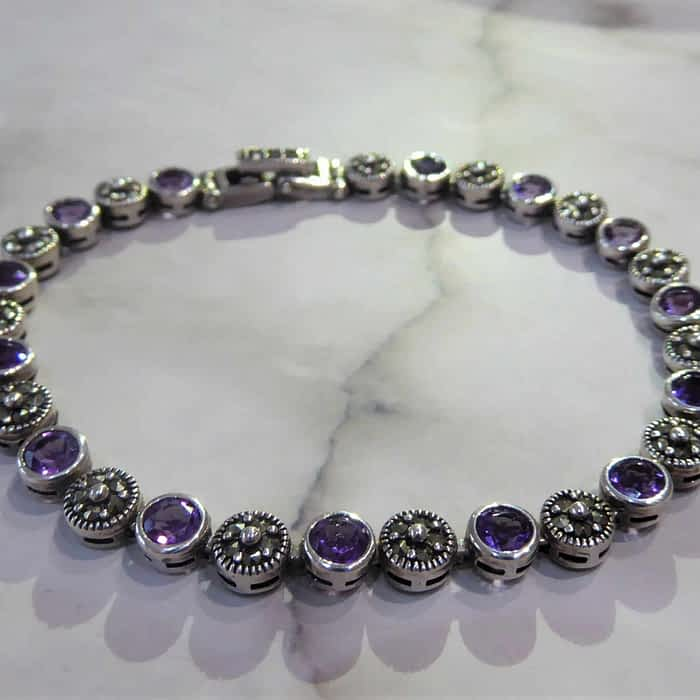 silver, marcasite and amethyst circle link bracelet