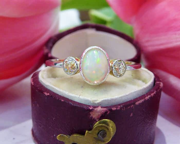 Antique Opal Ring, Art Deco Opal & Diamond Ring, Platinum, 18ct Gold