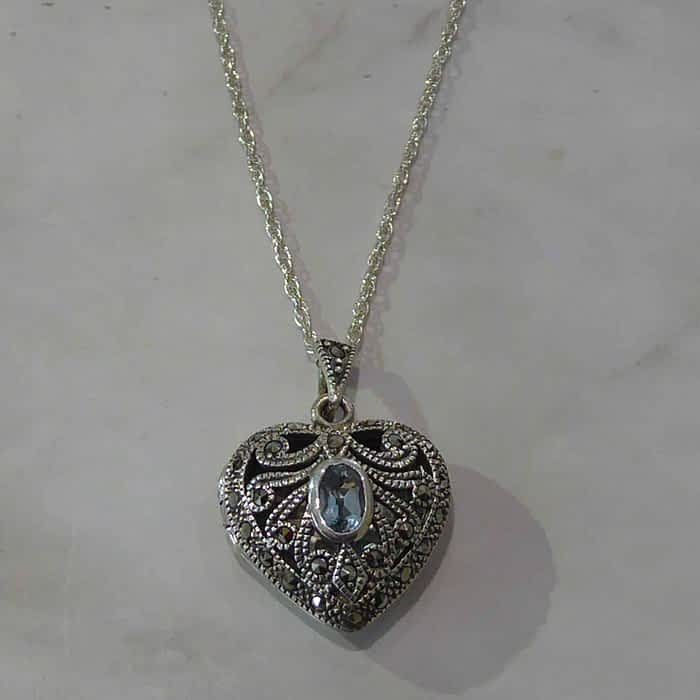 Vintage Style Silver Heart Locket, Blue Topaz, Marcasite