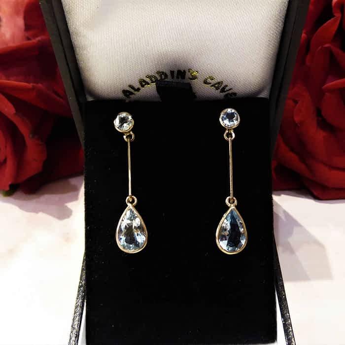 Aquamarine and Gold Earrings, 9ct gold, pear shape