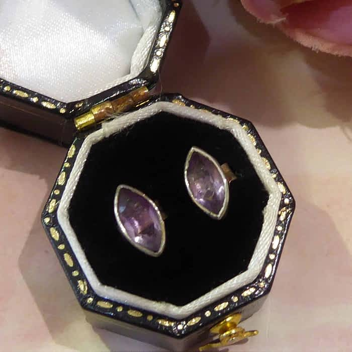 silver and amethyst marquis shape stud earrings