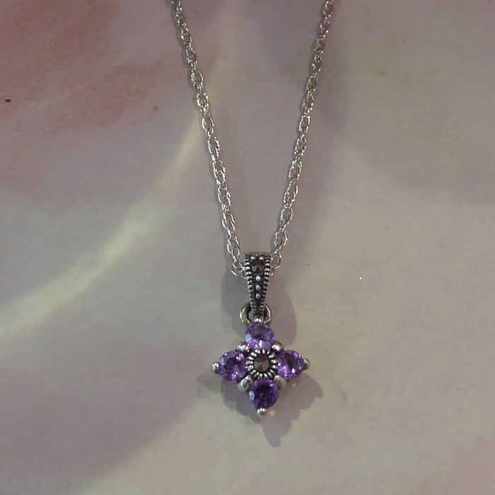 silver, marcasite and amethyst vintage style pendant and chain