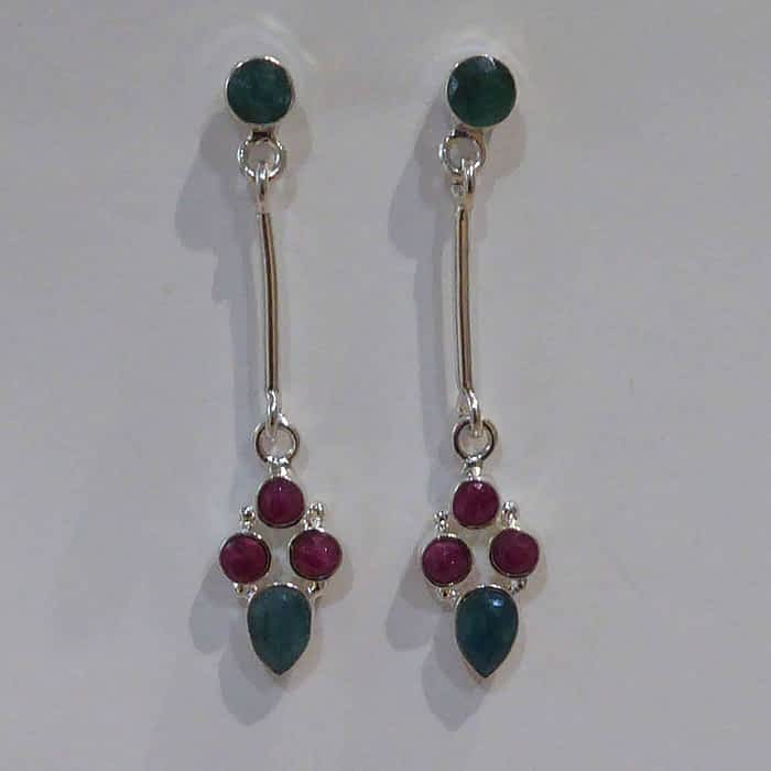silver, unpolished emerald and ruby drop earrings