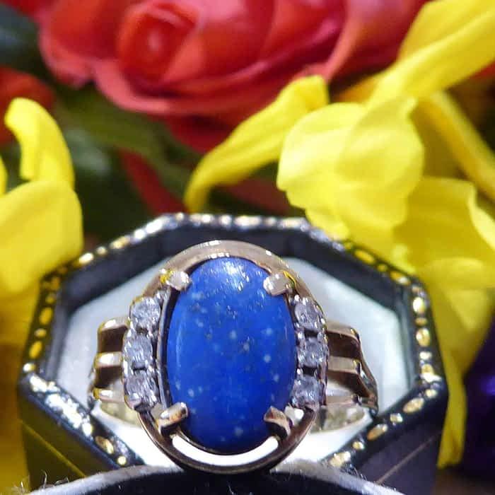 Vintage Diamond & Lapis Ring, 14ct Gold, 1960s