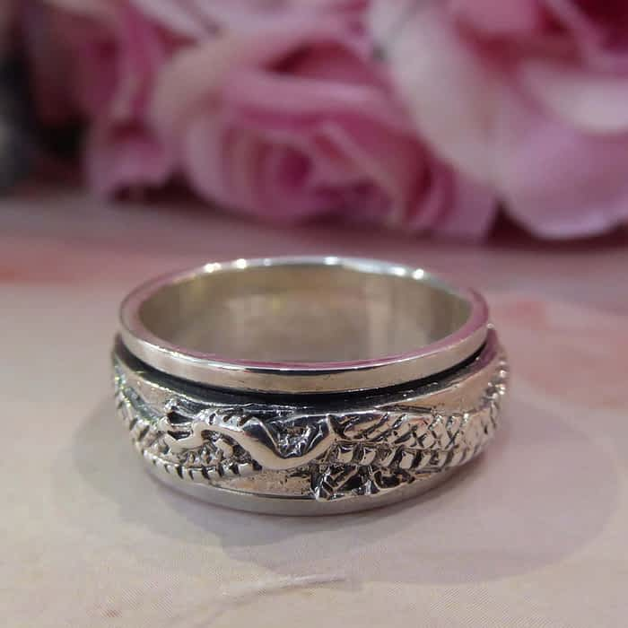 large size silver dragon design band ring