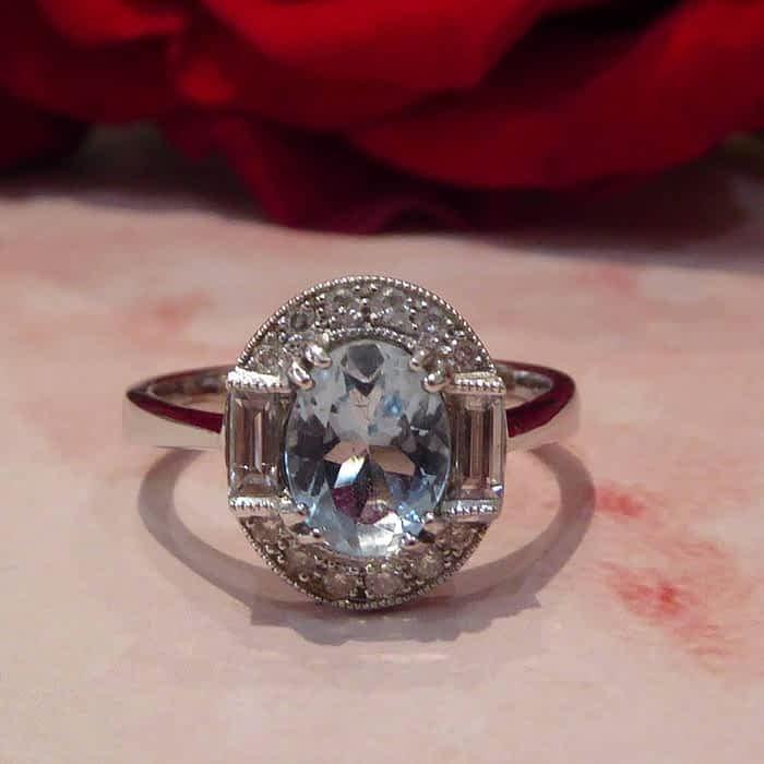 Vintage Style Aquamarine, Diamond, 18ct White Gold Halo Ring