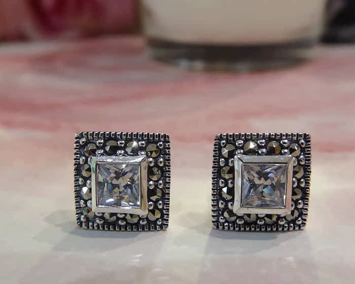silver, cubic zirconia and marcasite square vintage style earrings
