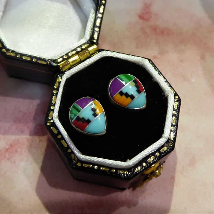 silver aztec pear shape stud earrings