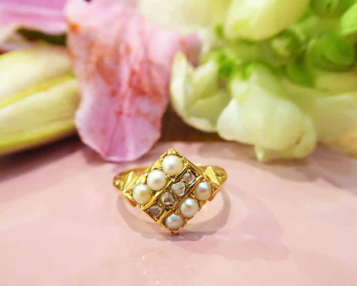 Victorian 15ct Gold, Seed Pearl & Diamond Ring