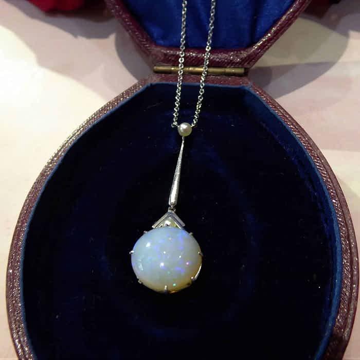 Antique Art Deco Opal Necklace, Seed Pearl, Platinum