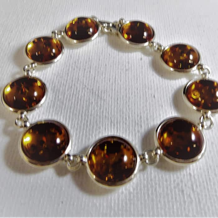 silver and amber bracelet