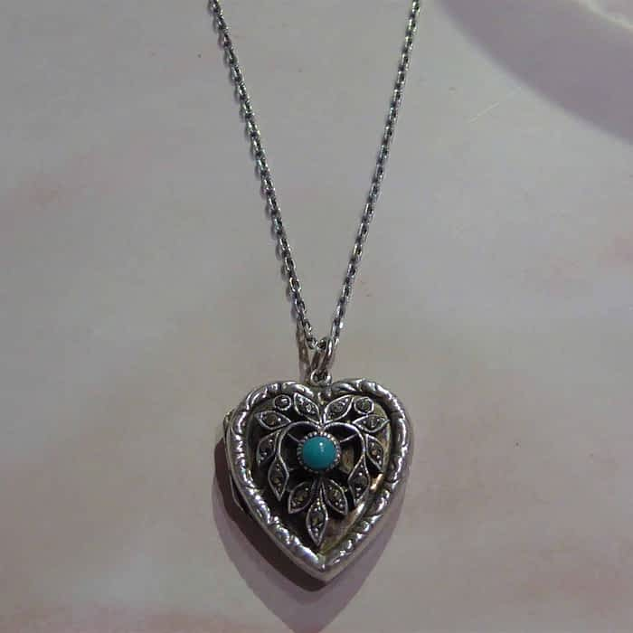 1940s silver, marcasite and turquoise heart locket and chain