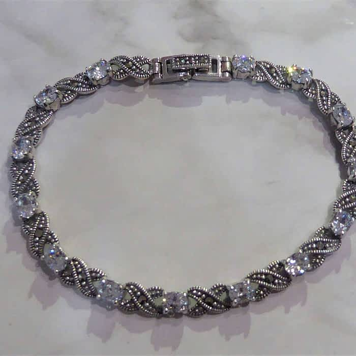 silver, marcasite and cubic zirconia bracelet