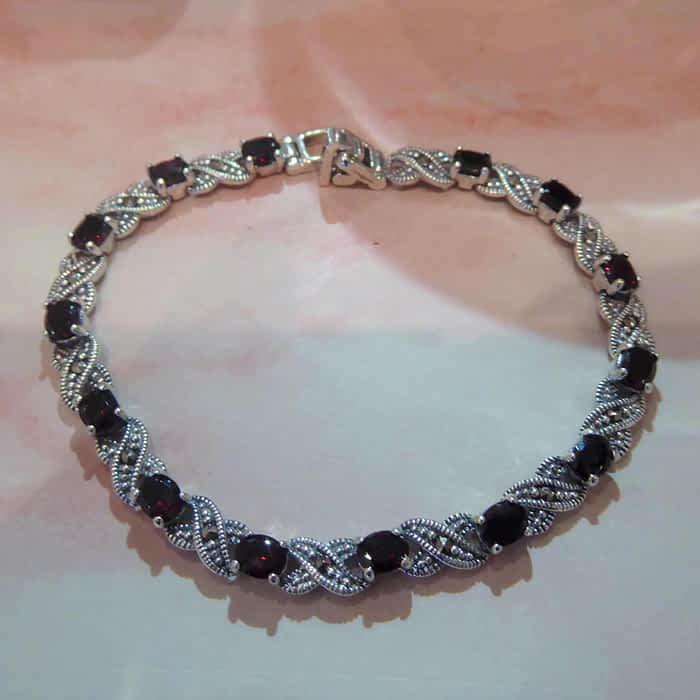 silver, marcasite and garnet vintage style bracelet