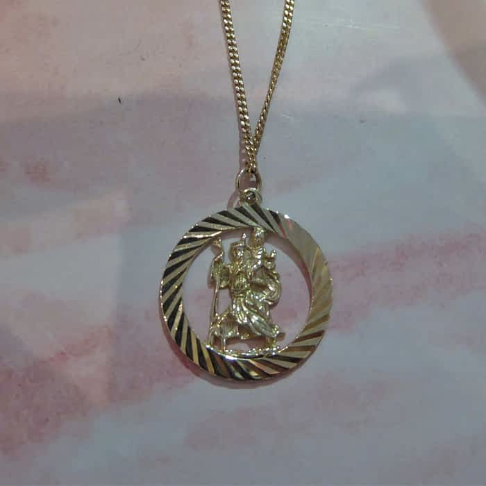 vintage 9ct gold St Christopher and chain