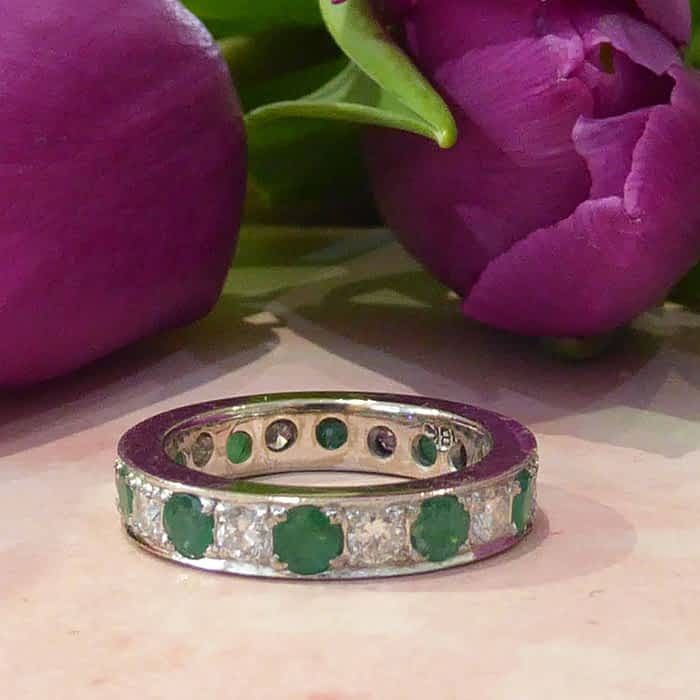 Vintage Emerald and Diamond Ring, Full Eternity Ring, 18ct White Gold