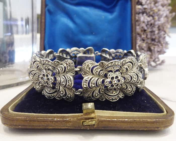 Antique Silver Bracelet, Marcasite, 1930s