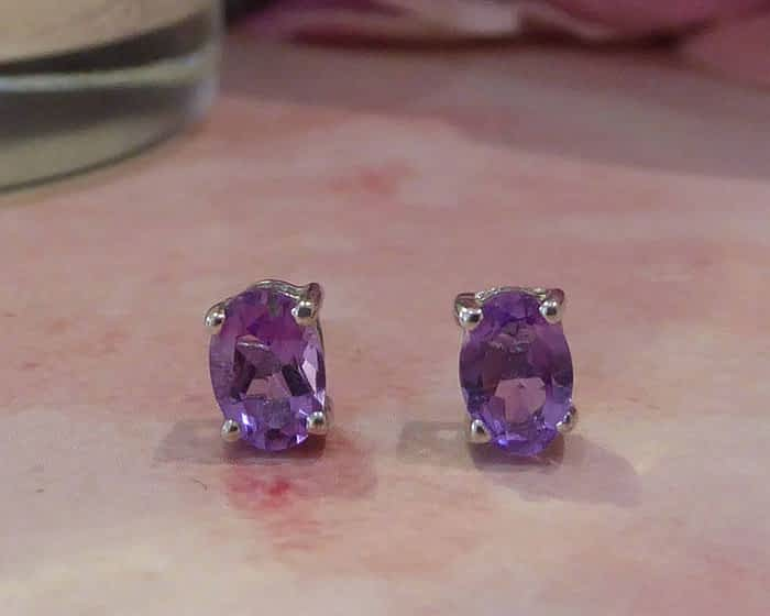 silver and amethyst oval studs