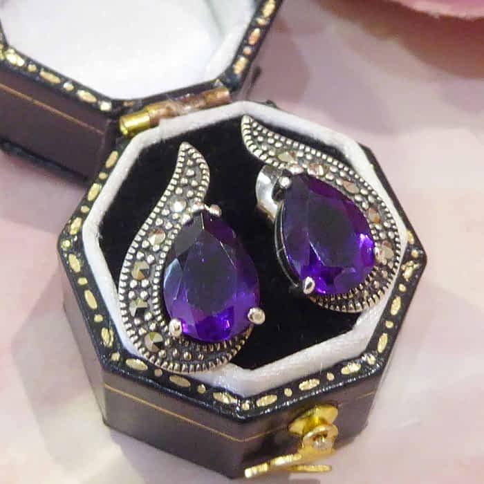 silver, amethyst and marcasite tear drop vintage style stud earrings