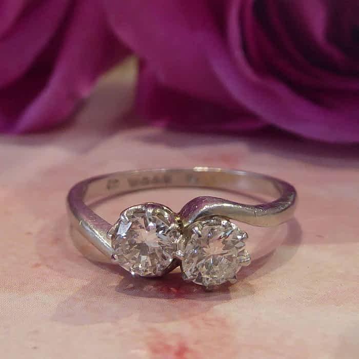 Antique Diamond 2 Stone Ring, Platinum, 1930s