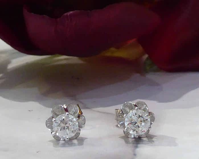 Antique Diamond Stud Earrings, 18ct White Gold, 1930s