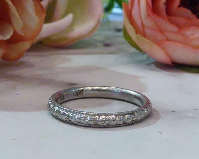 Antique Platinum Wedding Ring, 1930s