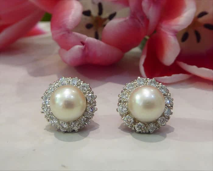 Antique Pearl & Diamond Stud Earrings, 18ct White Gold, 1940s