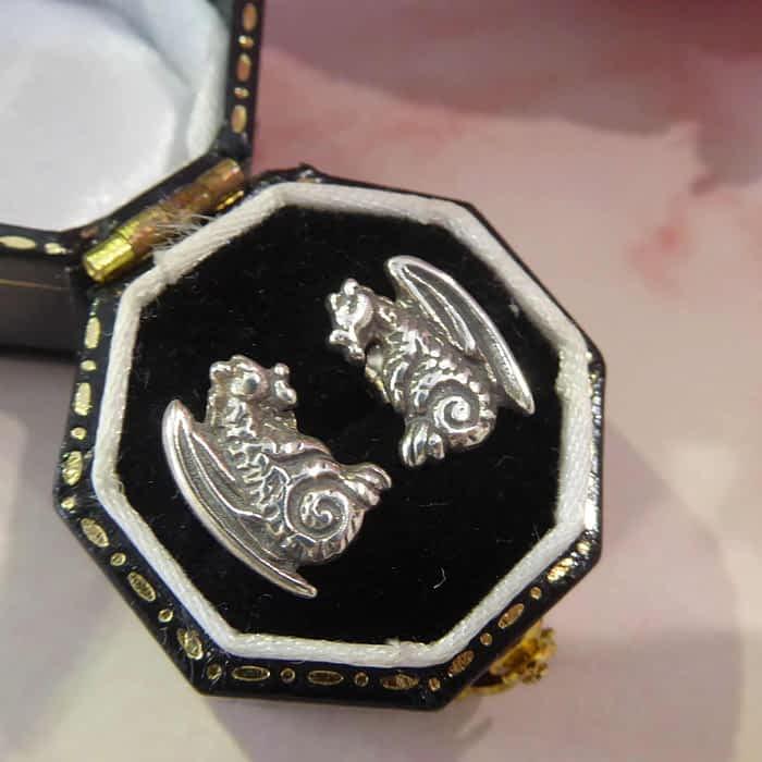 silver dragon stud earrings