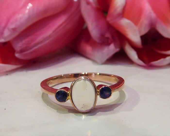 Moonstone & Sapphire Gold Ring, 9ct Rose Gold