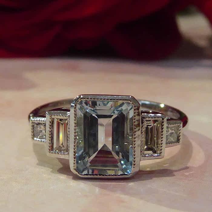 Art Deco Style Aquamarine and Diamond Ring, 18ct White Gold