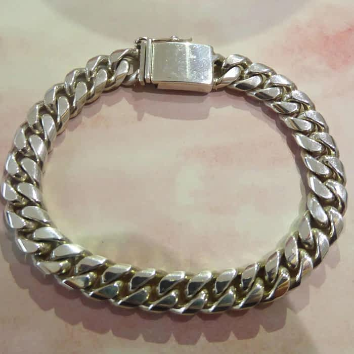 Heavy silver curb link bracelet