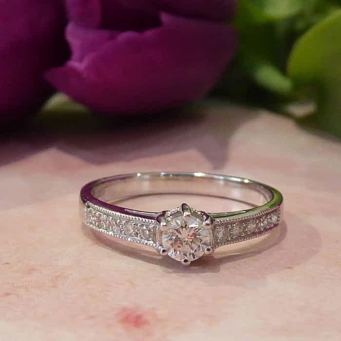 Vintage Style Diamond Ring, 18ct White Gold