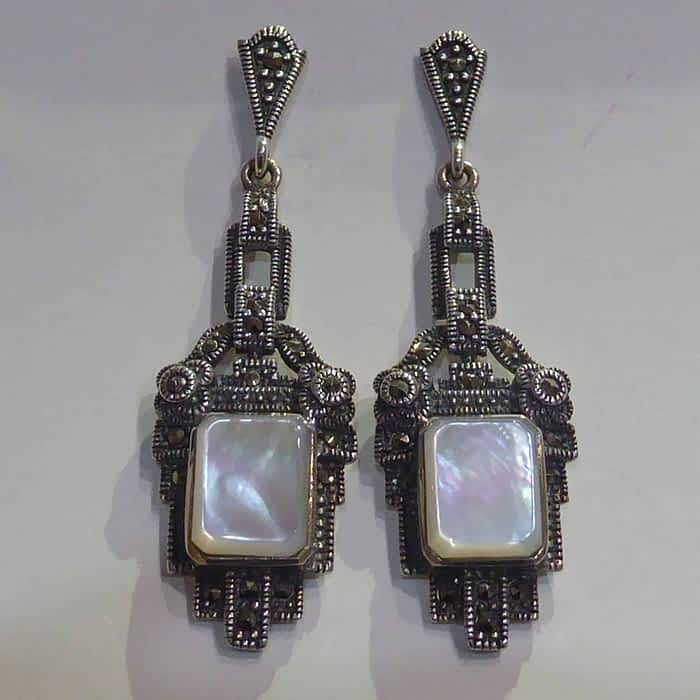 Art deco style mother of pearl, silver and marcasite earrings
