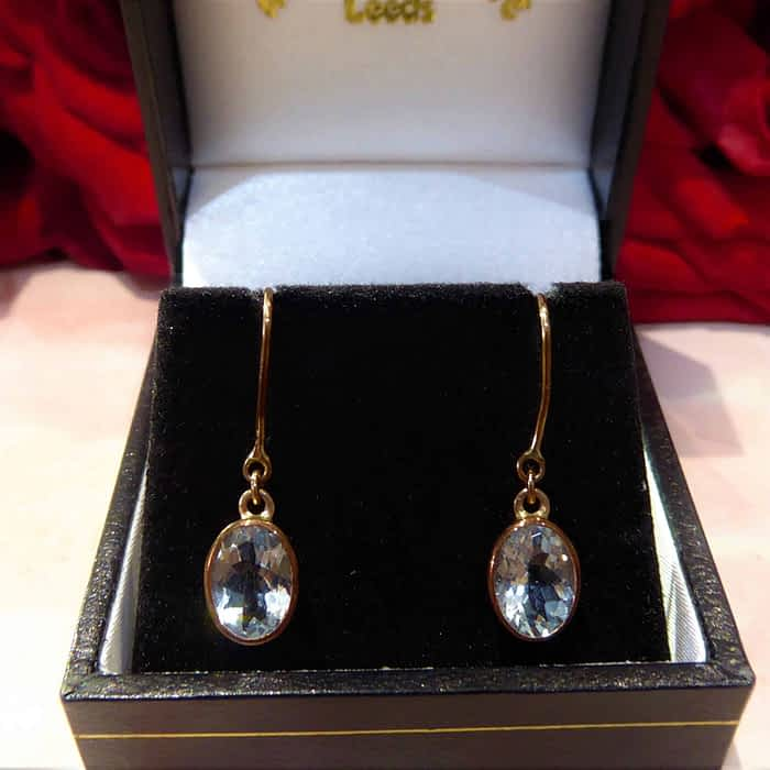 Aquamarine and Rose Gold Earrings, 9ct, Oval