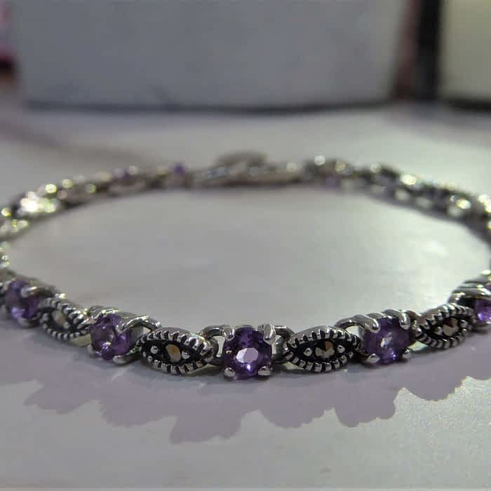 silver, marcasite and amethyst bracelet
