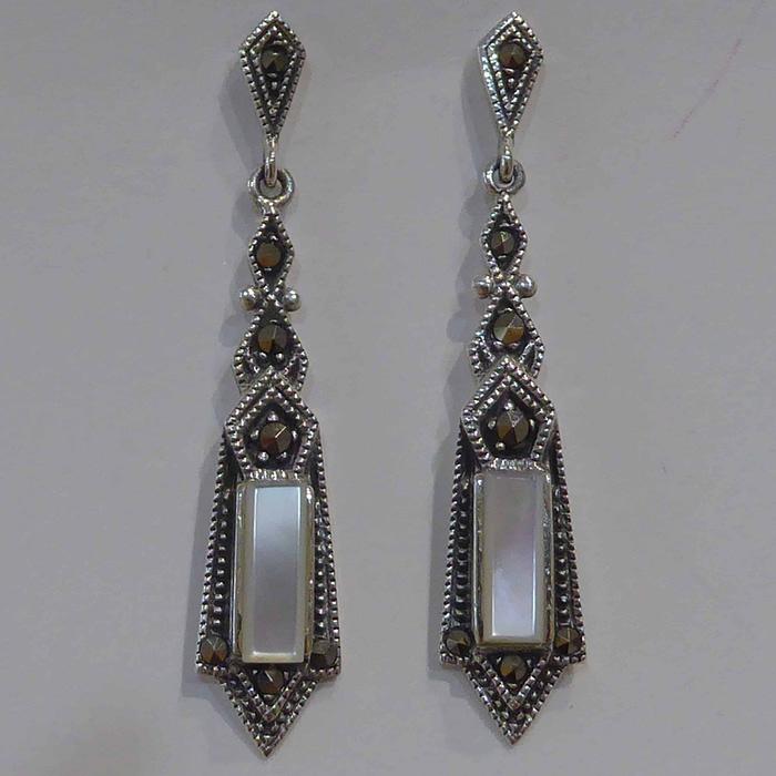 silver, marcasite and mother of pearl fan shape earrings