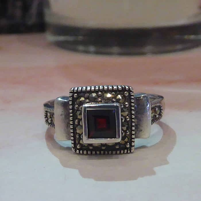 silver, garnet and marcasite square ring