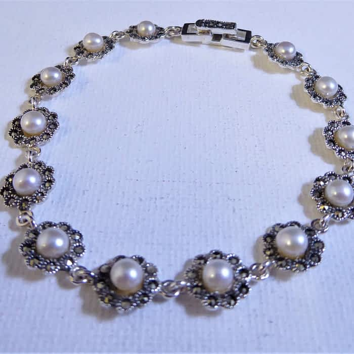 silver, pearl and marcasite flower design bracelet