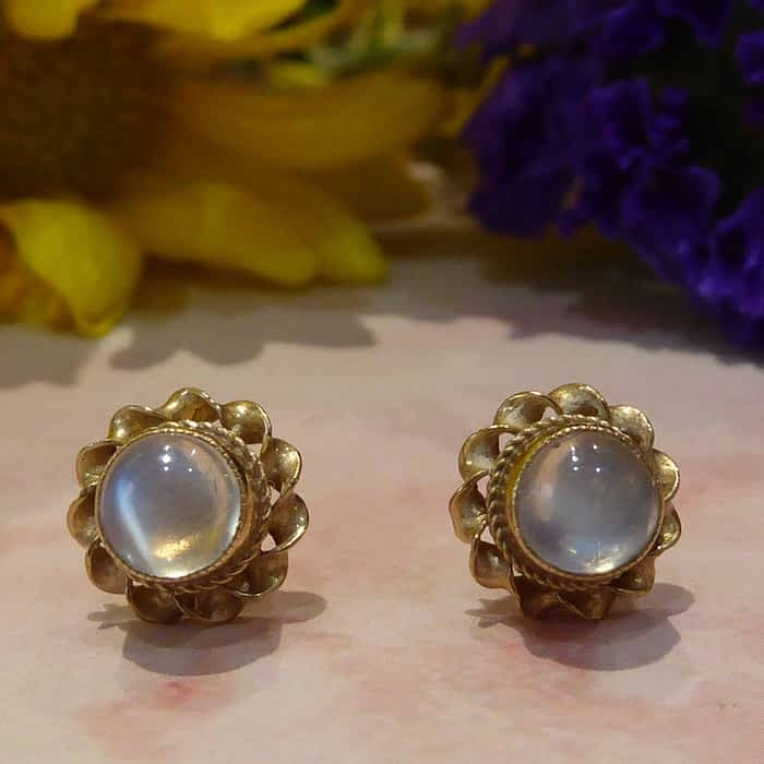1960s 9ct gold and moonstone stud earrings