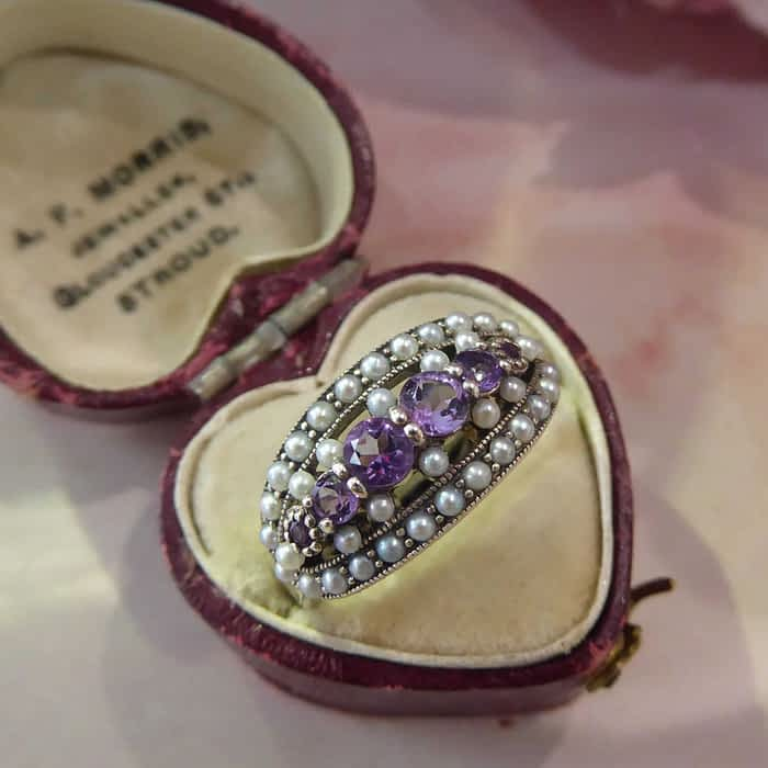 silver, amethyst and pearl vintage style ring