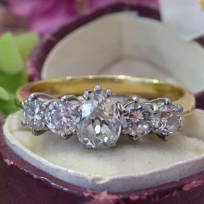 Antique Diamond Ring, 1920s 5 Stone Ring, Pear Shaped Diamond