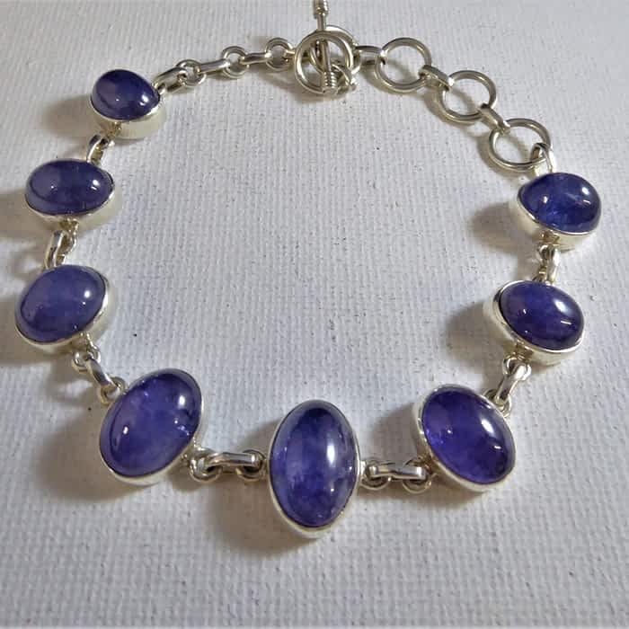 silver and tanzanite bracelet