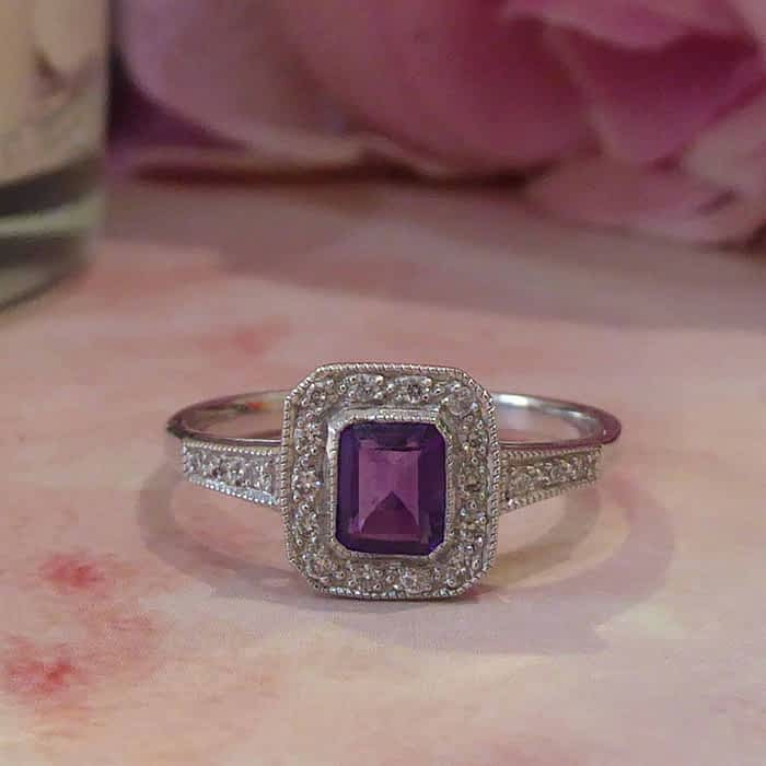 Art deco style 9ct white gold, diamond and amethyst ring