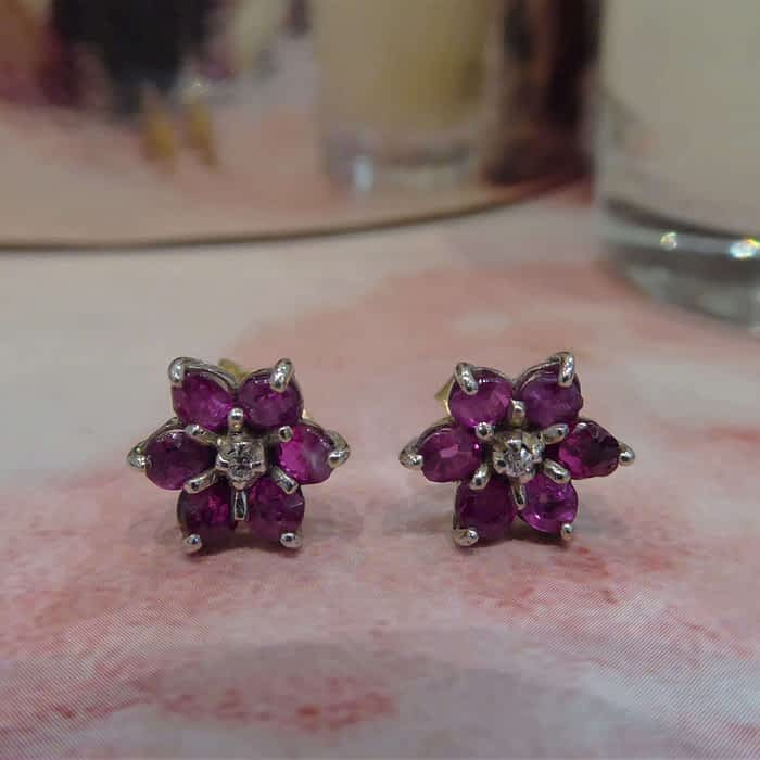 18ct gold ruby and diamond flower stud earrings