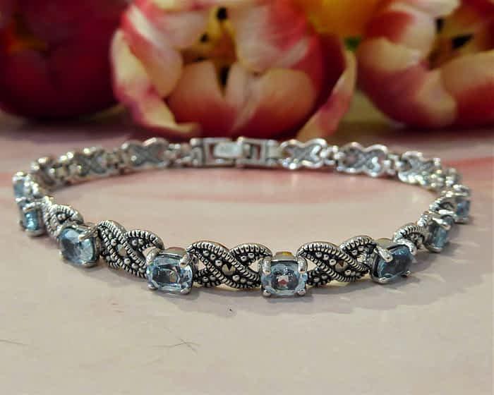 Vintage Style Silver, Marcasite and Blue Topaz Bracelet