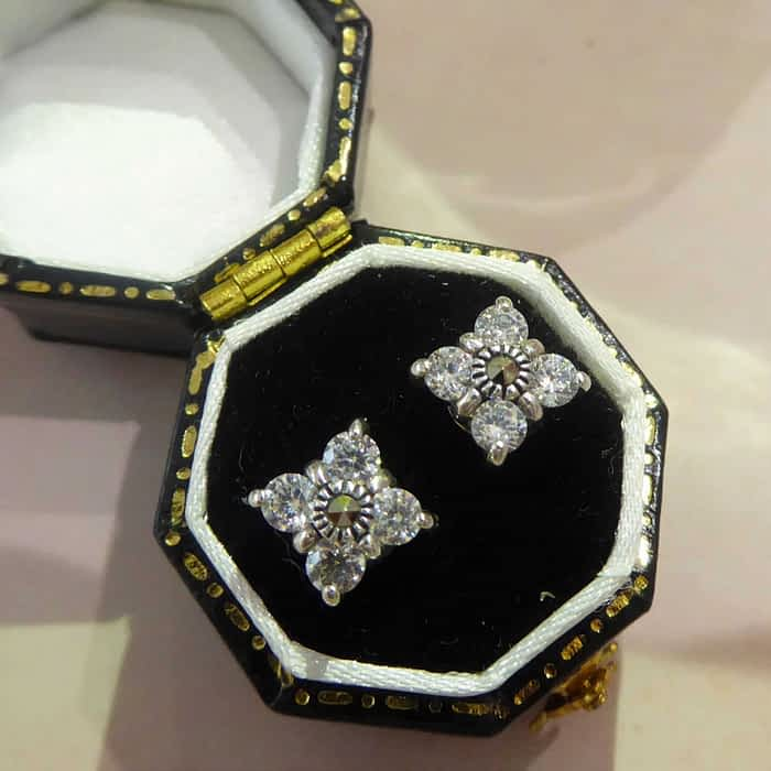 silver, marcasite and cubic zirconia stud earrings