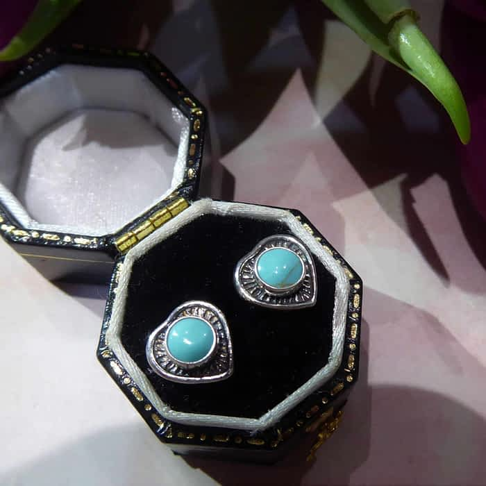 Silver and Turquoise fancy heart studs